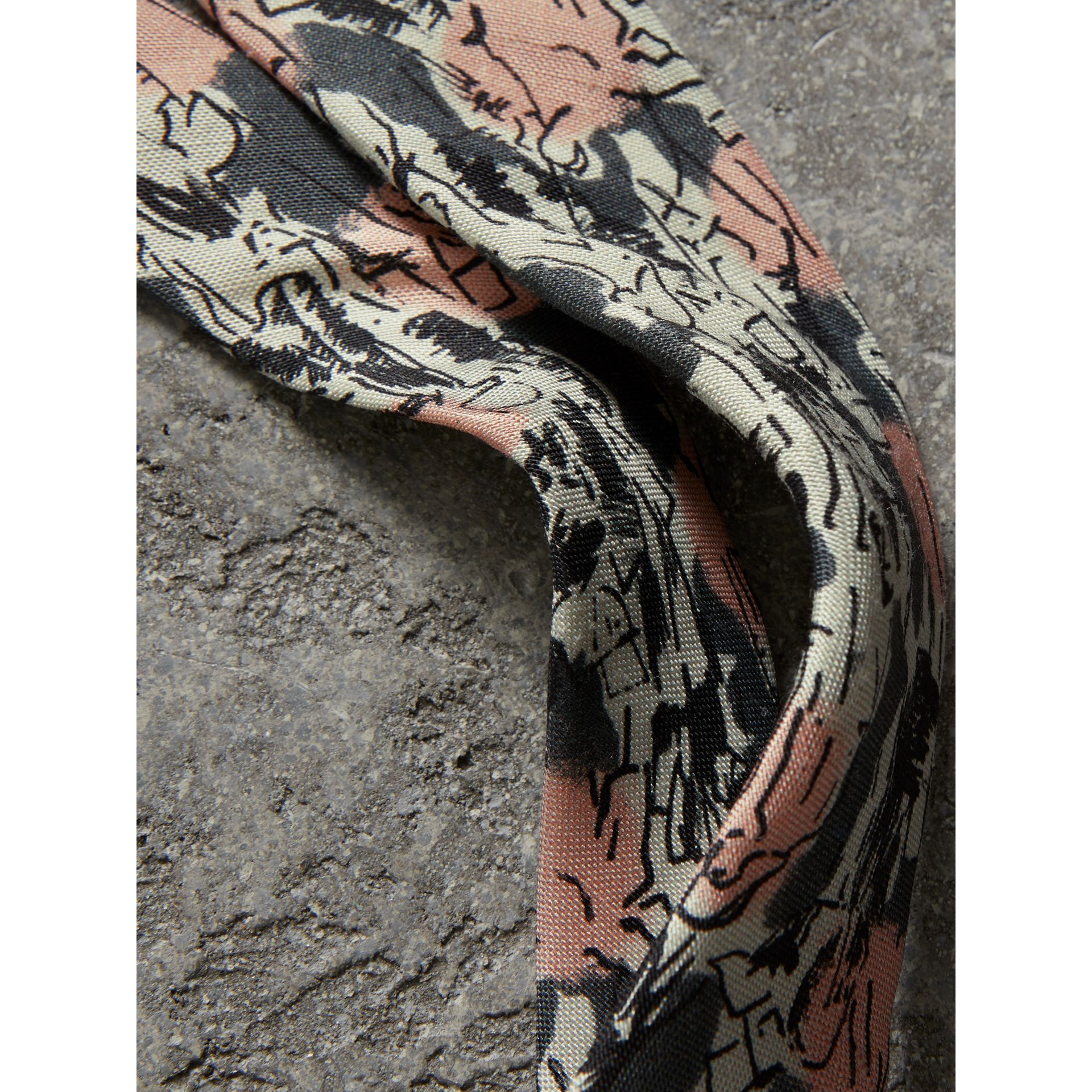 Slim Cut Figurative Print Linen Silk Tie in Mid Grey - Men | Burberry - gallery image 1