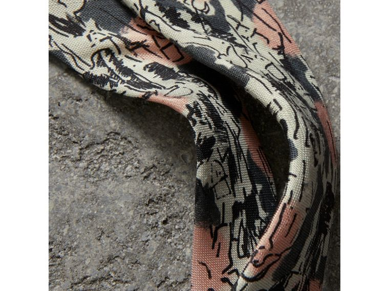Slim Cut Figurative Print Linen Silk Tie in Mid Grey - Men | Burberry United States - cell image 1