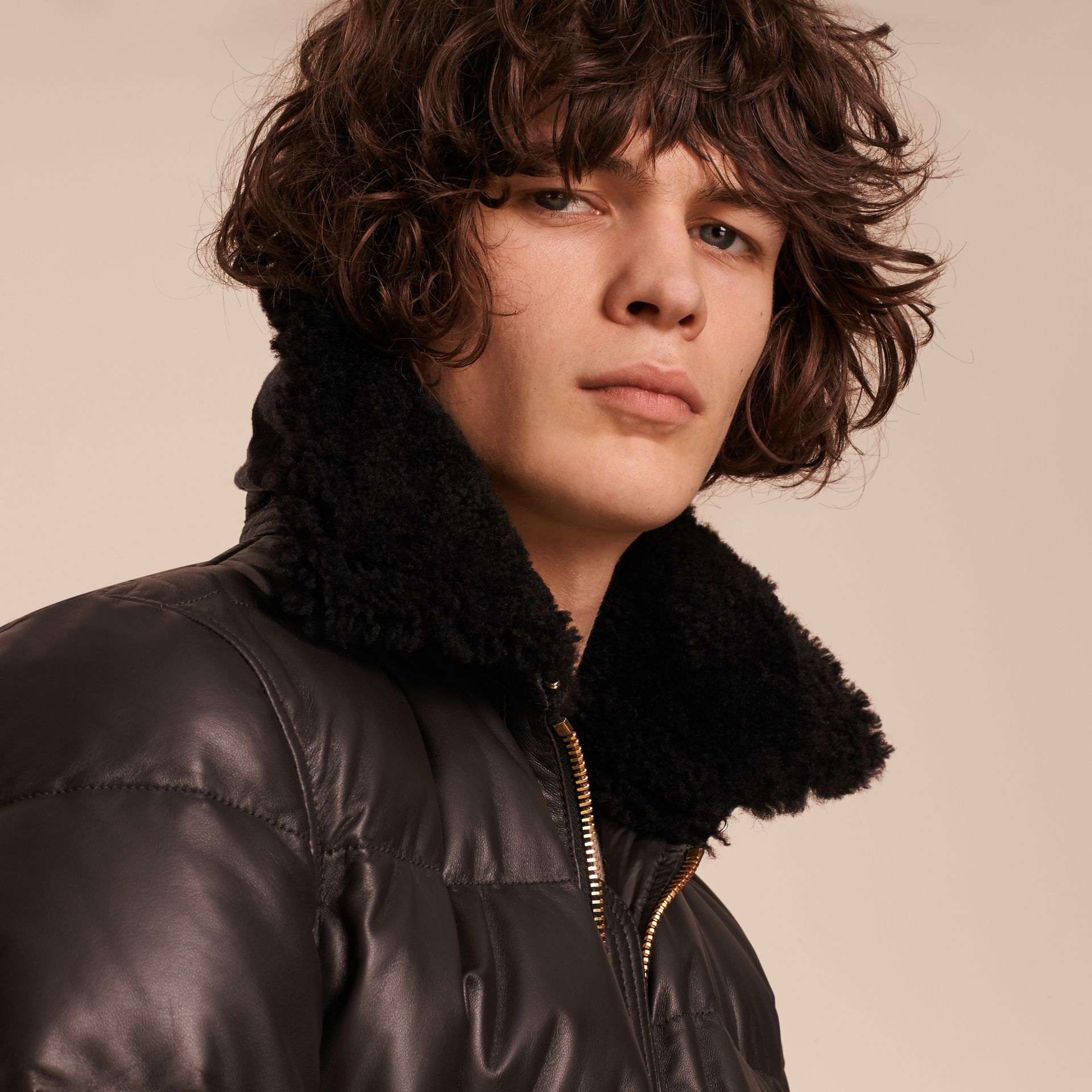 Chocolate brown Down-filled Lambskin Bomber Jacket with Shearling Collar - gallery image 5