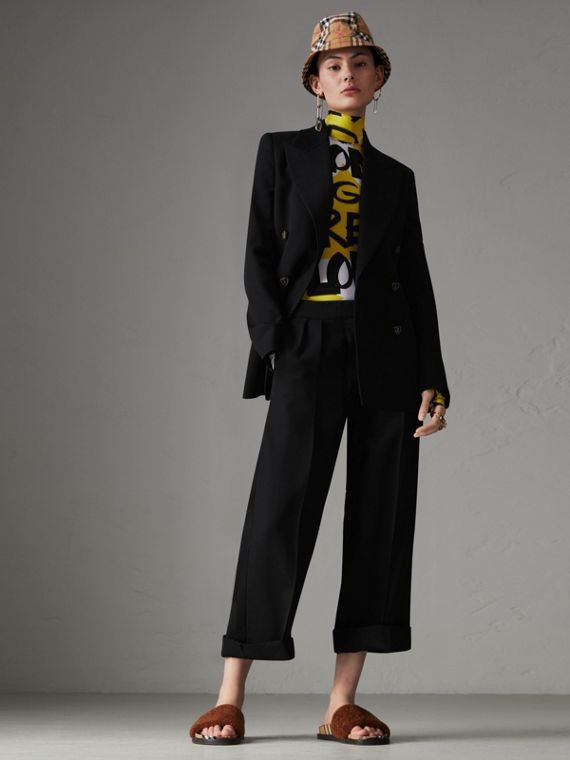 Wool Silk Cropped Tailored Trousers in Black