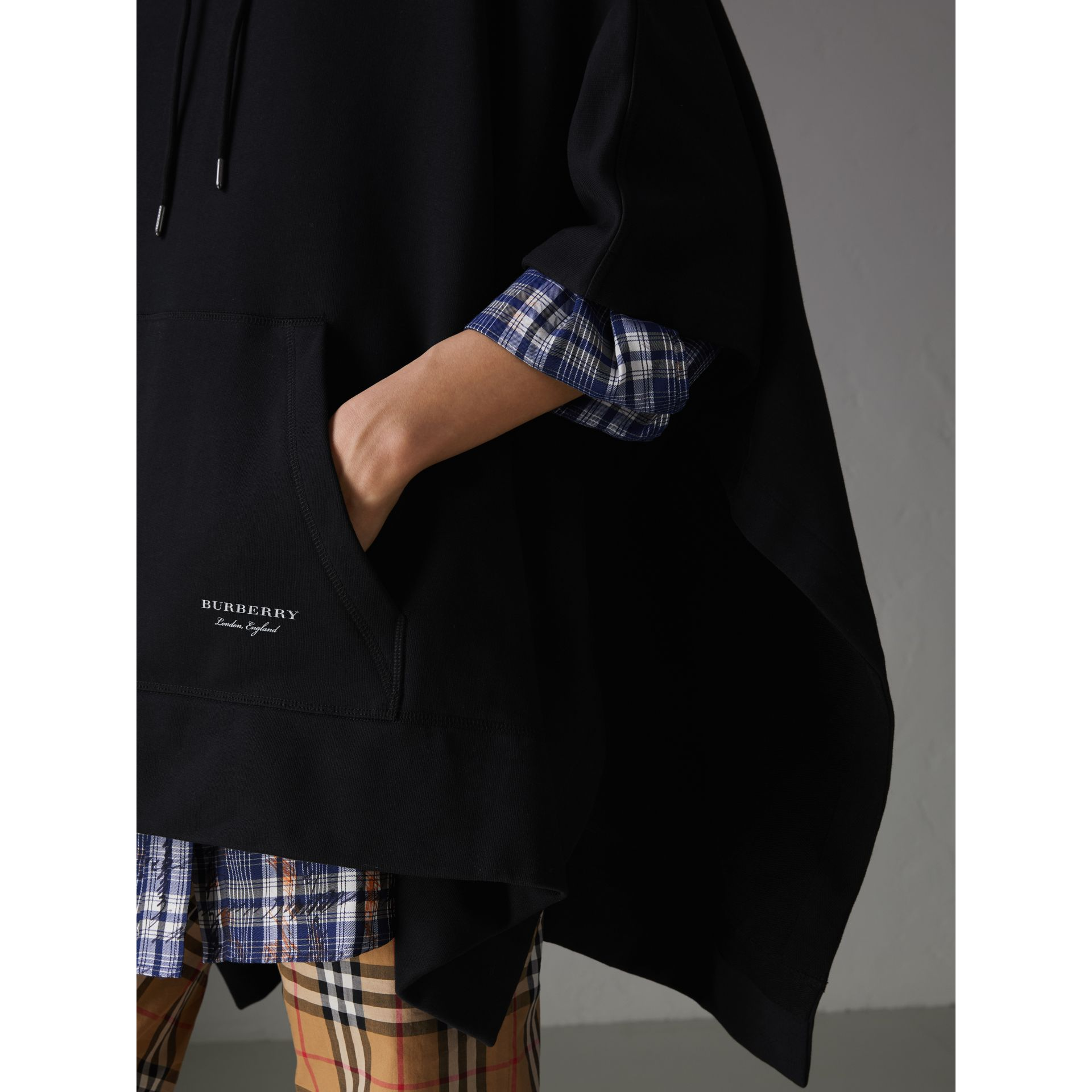 Cotton Jersey Hooded Cape in Black - Women | Burberry - gallery image 1
