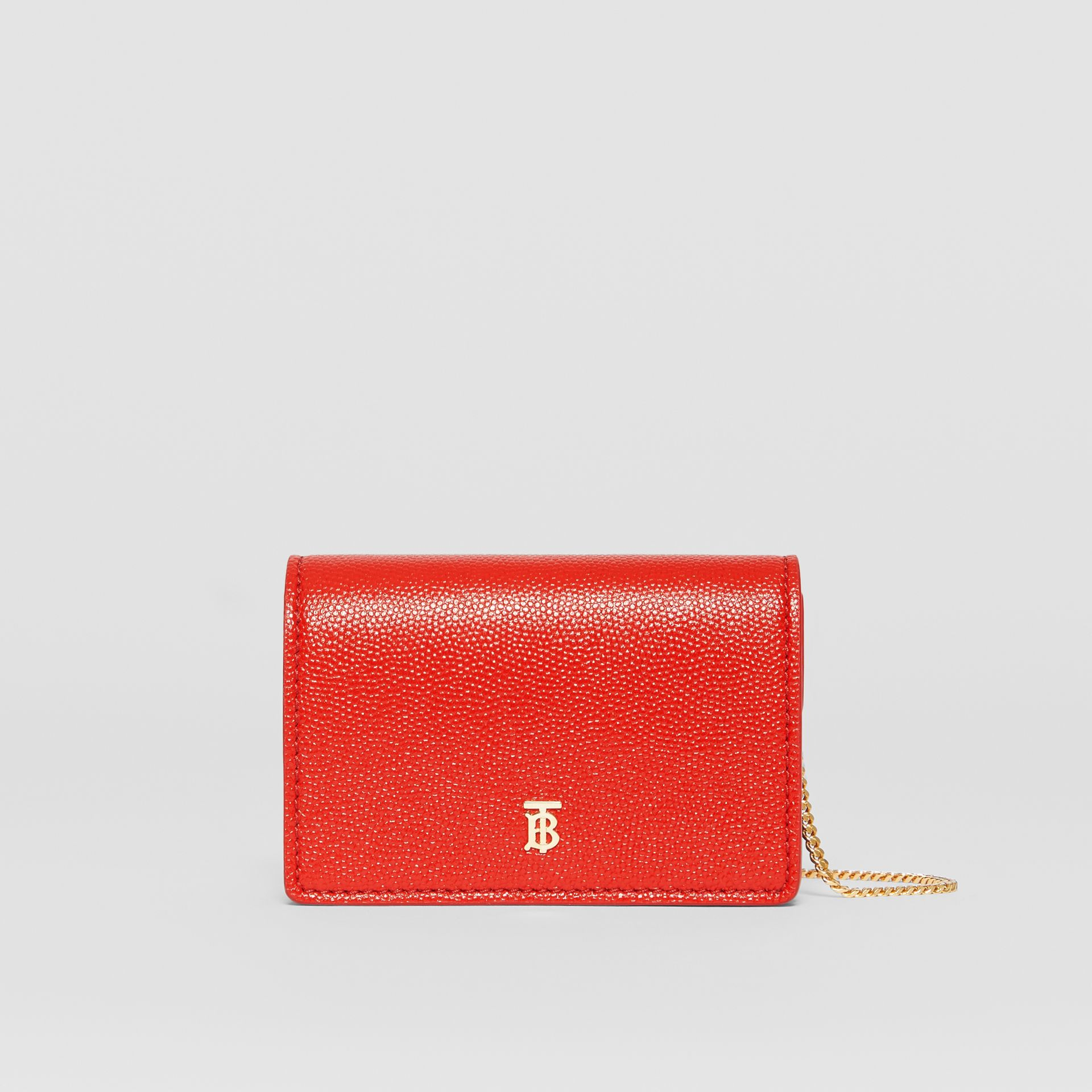 Grainy Leather Card Case with Detachable Strap in Bright Red - Women | Burberry - gallery image 0