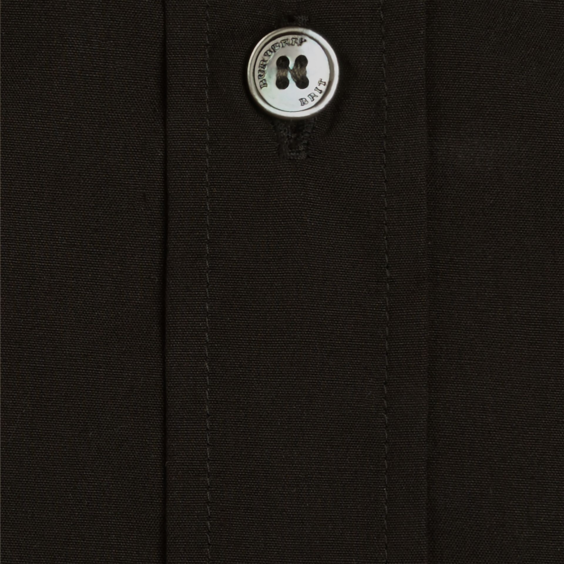 Check Detail Stretch Cotton Poplin Shirt Black - gallery image 2