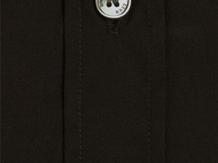 Check Detail Stretch Cotton Poplin Shirt in Black - cell image 1