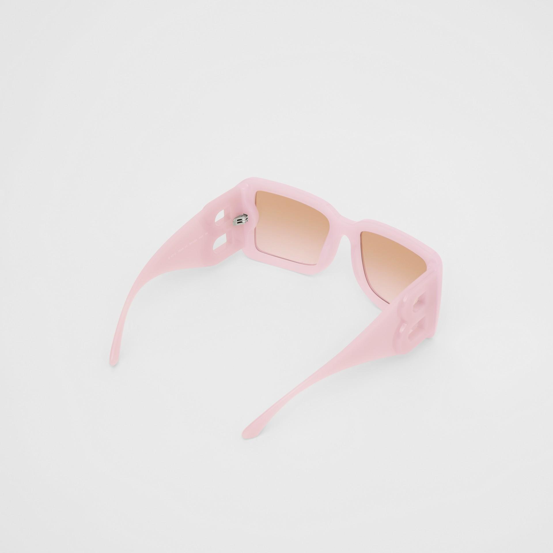 B Motif Square Frame Sunglasses in Lilac - Women | Burberry Australia - gallery image 4