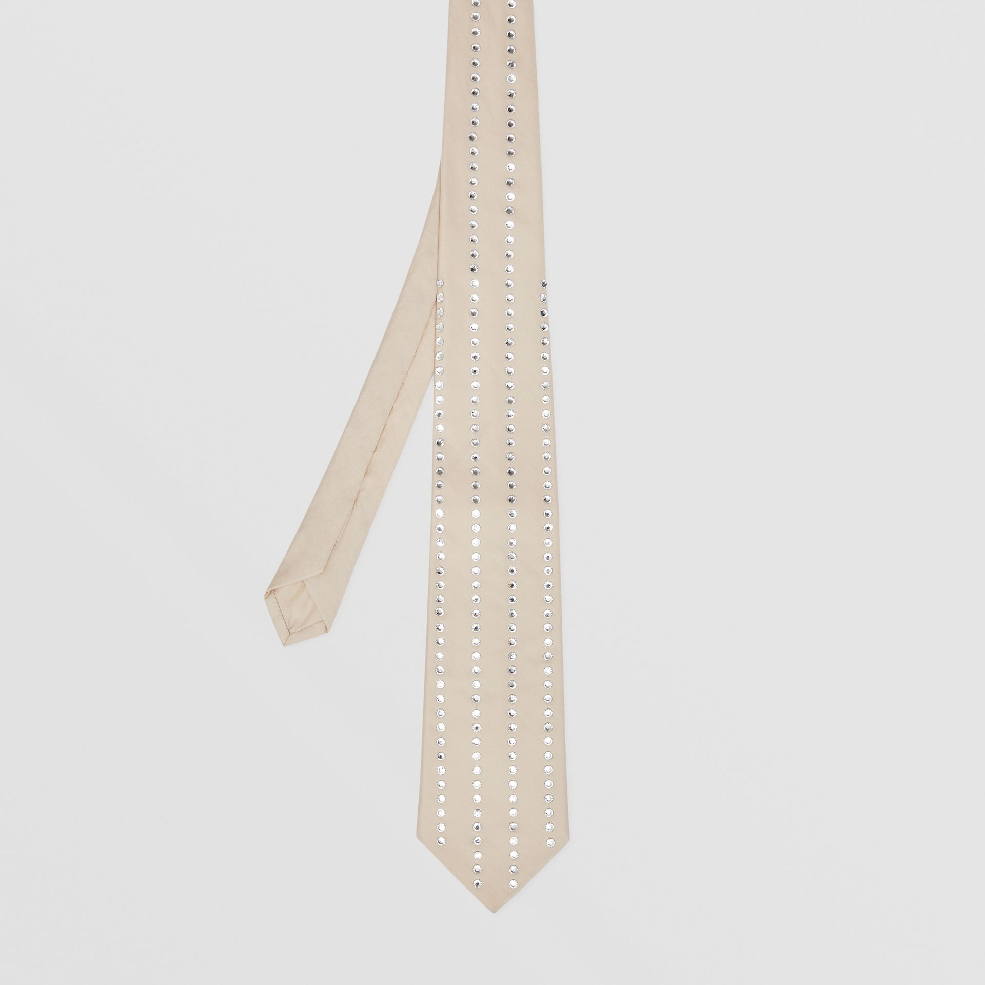 Classic Cut Crystal Pinstriped Silk Tie in Sesame | Burberry Australia - gallery image 4