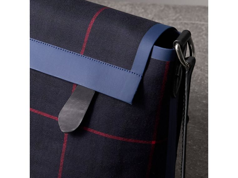 Large Tartan Cotton Messenger Bag in Deep Navy | Burberry Canada - cell image 1