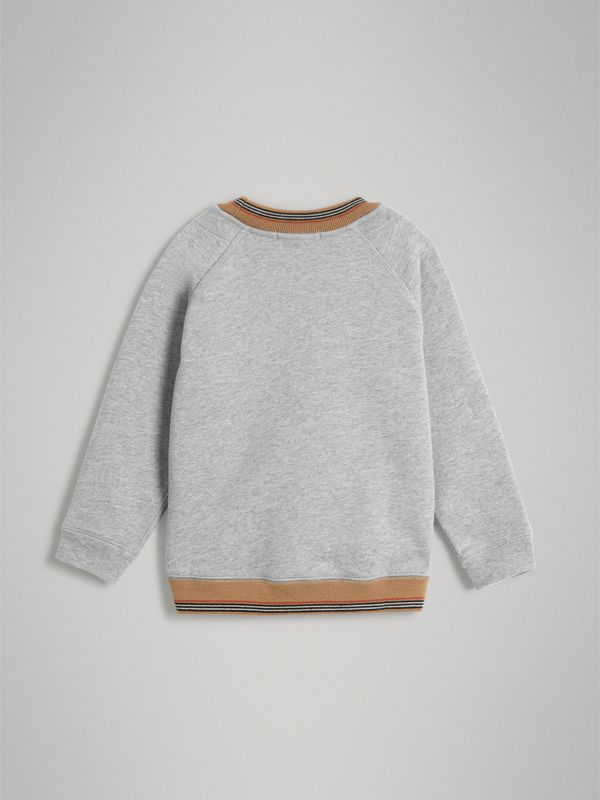 Heritage Stripe Detail Embroidered Cotton Sweatshirt in Grey Melange - Boy | Burberry - cell image 3