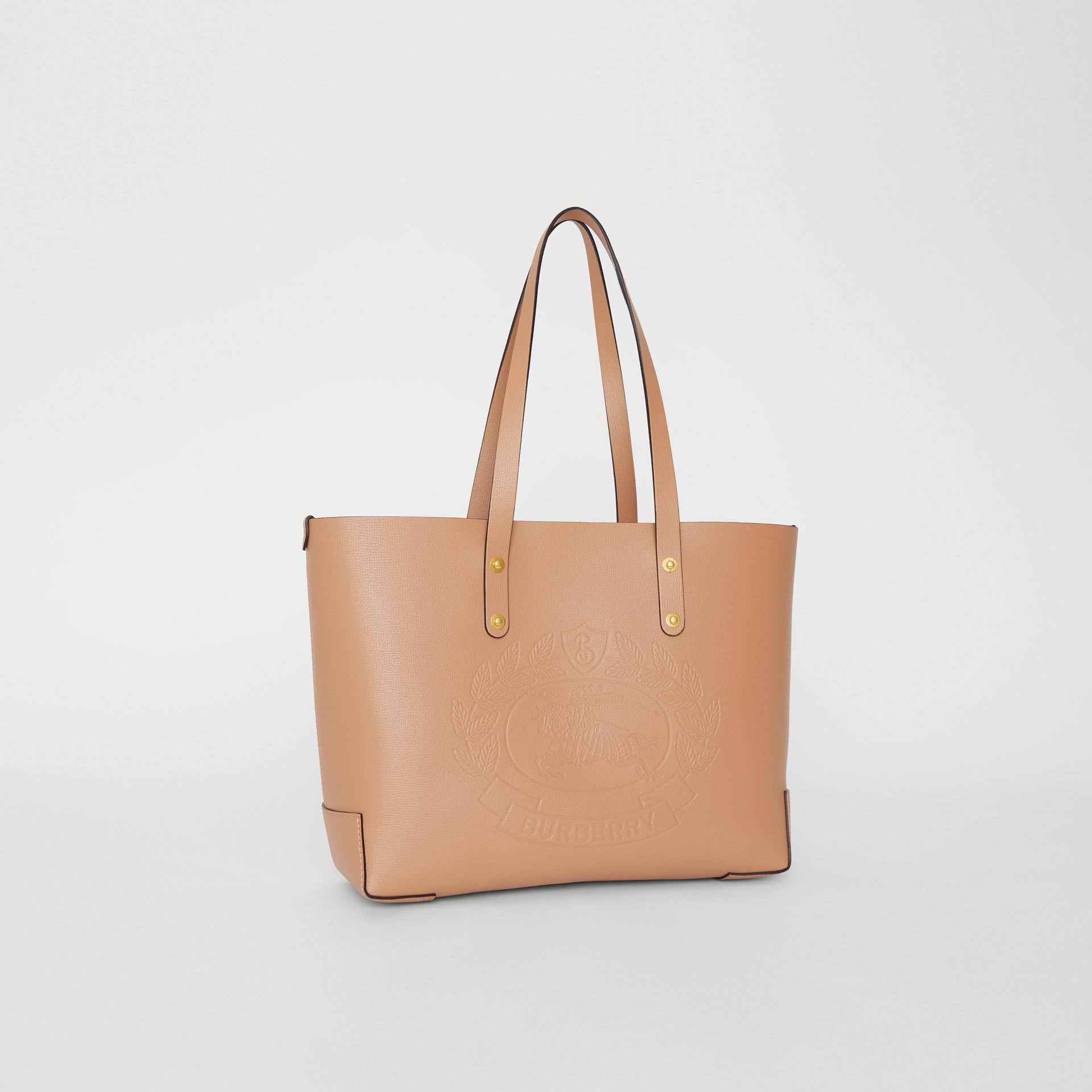 Small Embossed Crest Leather Tote in Light Camel - Women | Burberry - gallery image 6