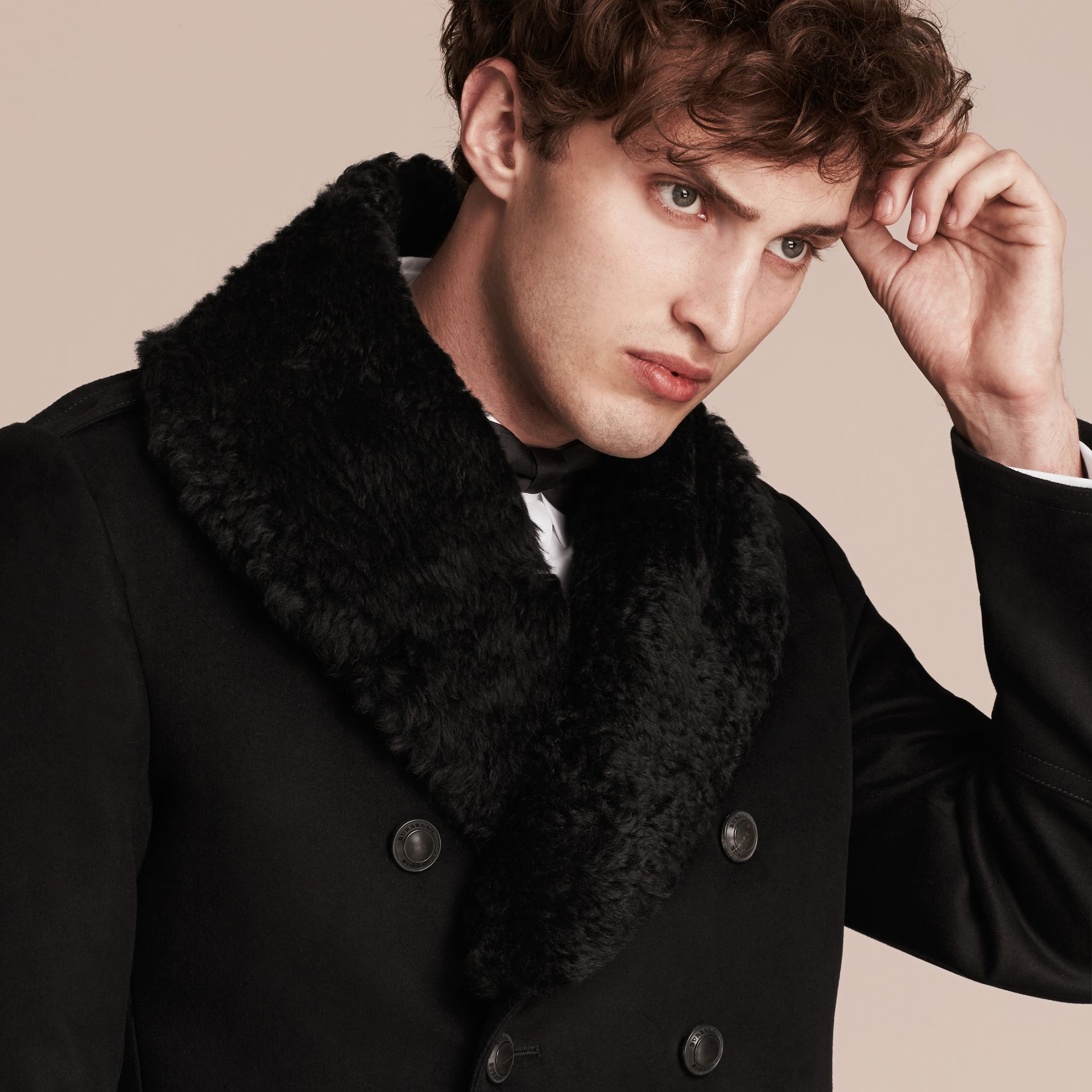 Black Technical-cotton Moleskin Pea Coat with Shearling Collar - gallery image 6