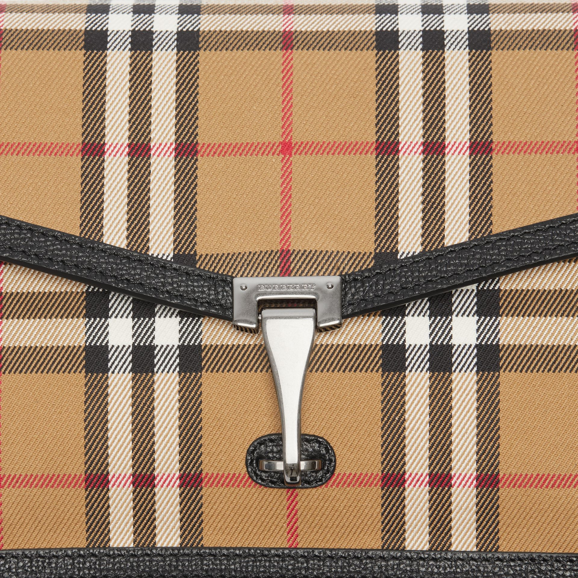 Small Vintage Check and Leather Crossbody Bag in Black - Women | Burberry - gallery image 1