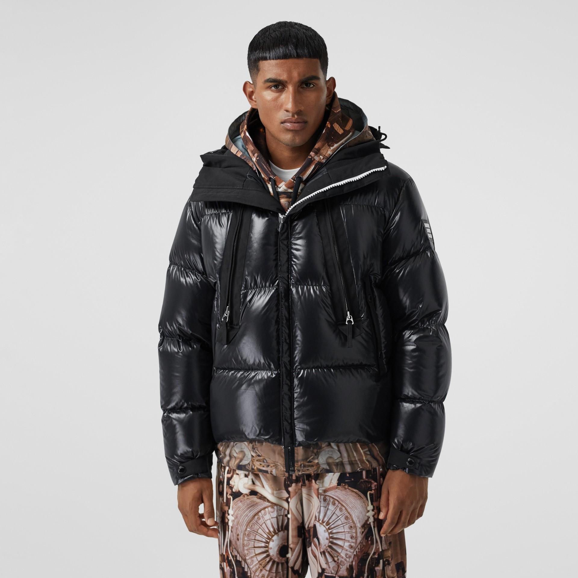 Packaway Hood Puffer Jacket in Black - Men | Burberry - gallery image 6