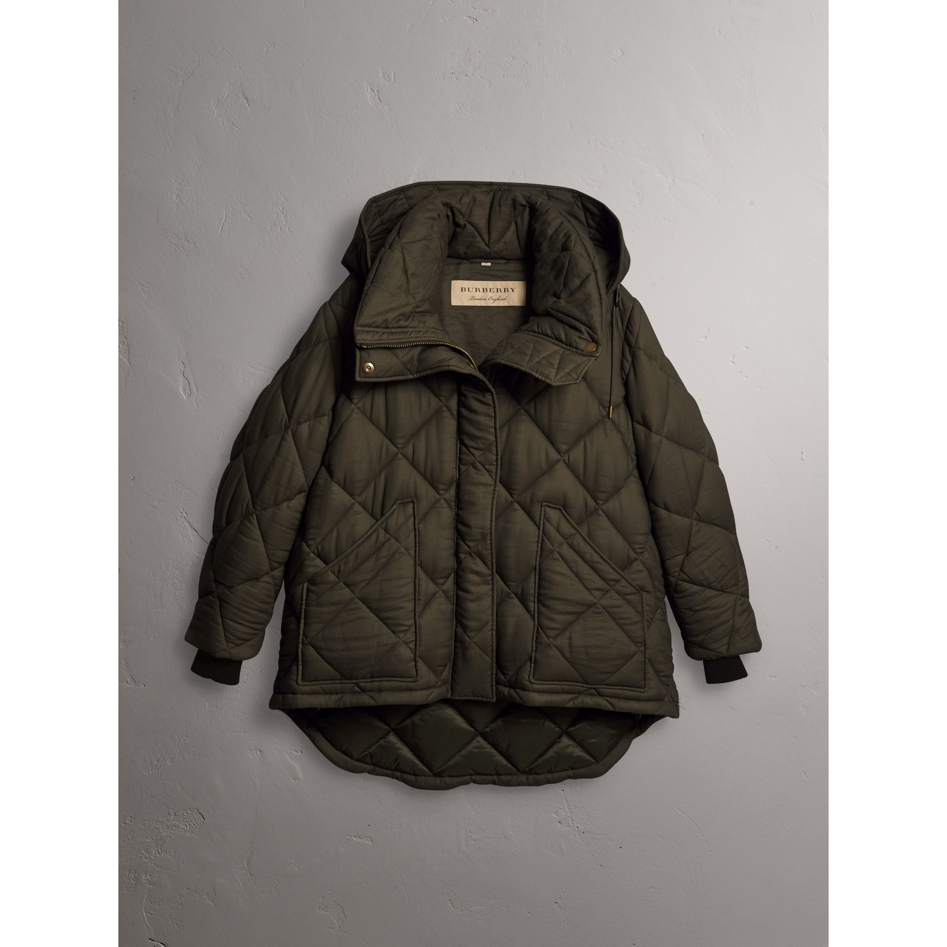 Detachable Hood Quilted Oversized Jacket in Olive - Women | Burberry - gallery image 3