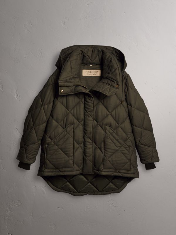 Detachable Hood Quilted Oversized Jacket in Olive - Women | Burberry - cell image 3