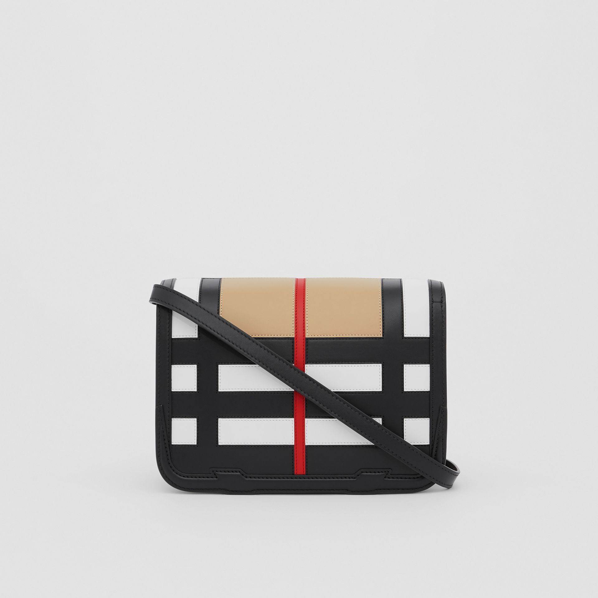 Small Check Appliqué Leather TB Bag in Black - Women | Burberry - gallery image 5
