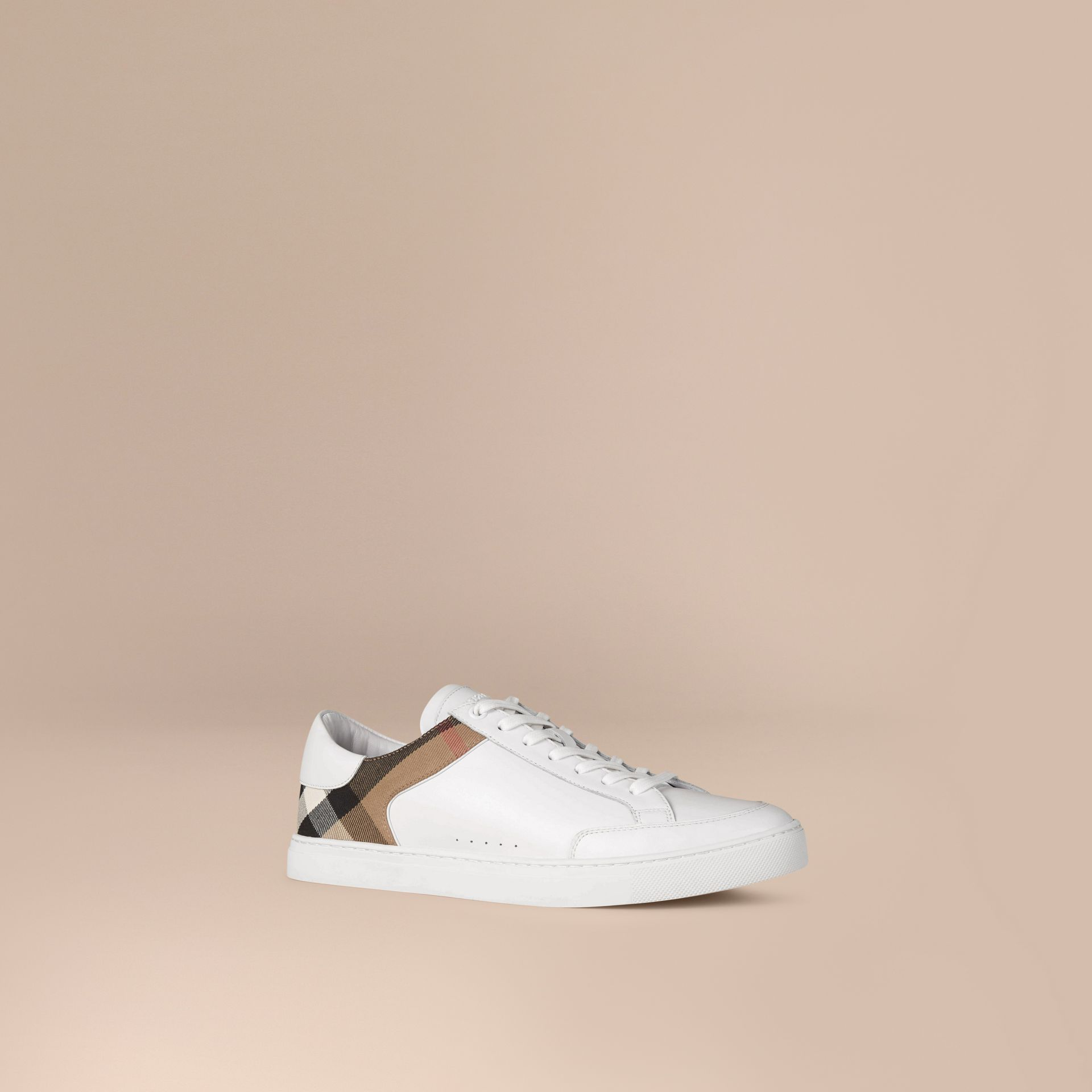 Leather and House Check Trainers in White - gallery image 1