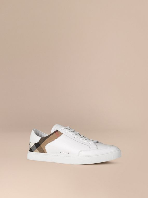 Leather and House Check Trainers in White