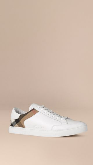Tennis en cuir avec motif House check