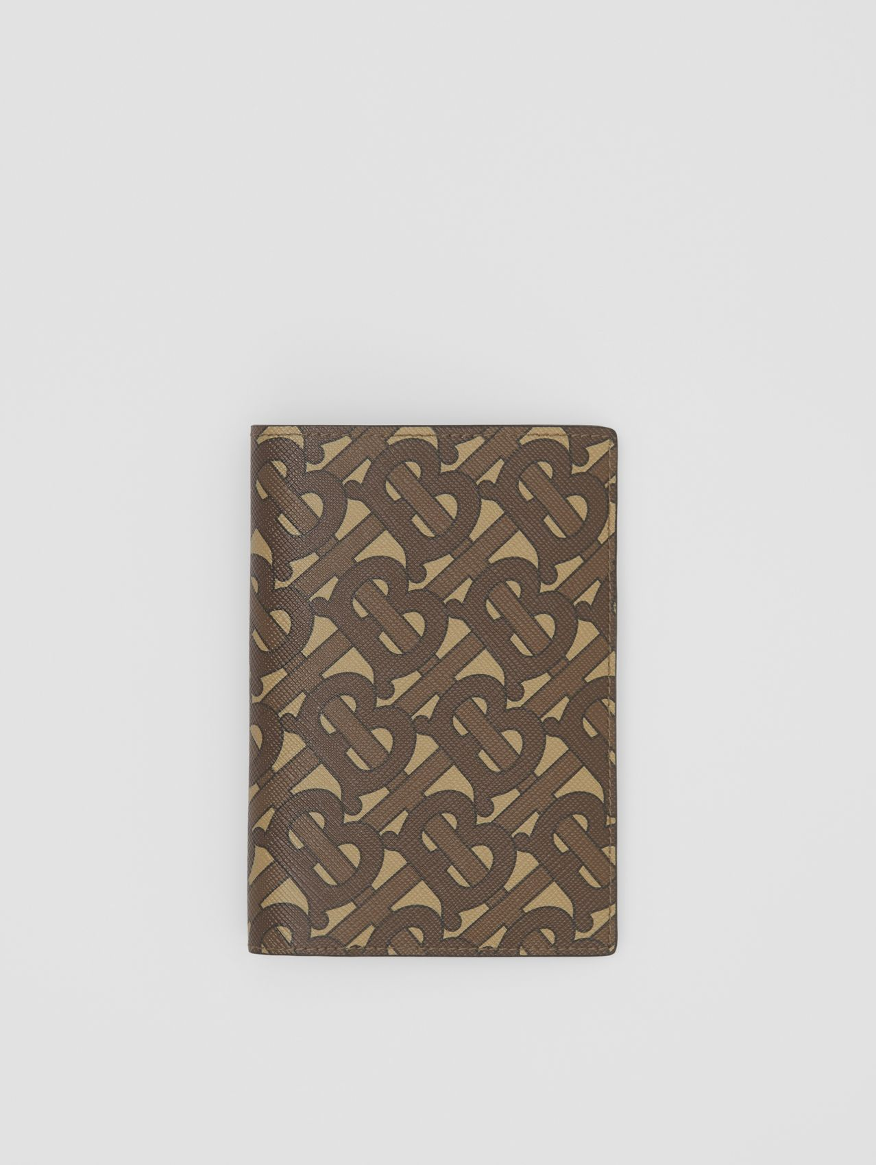 Monogram Print E-canvas Passport Holder in Bridle Brown