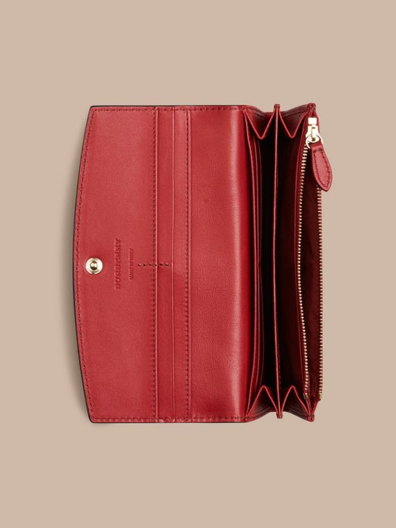 Horseferry Check and Leather Continental Wallet in Parade Red - Women | Burberry - cell image 3