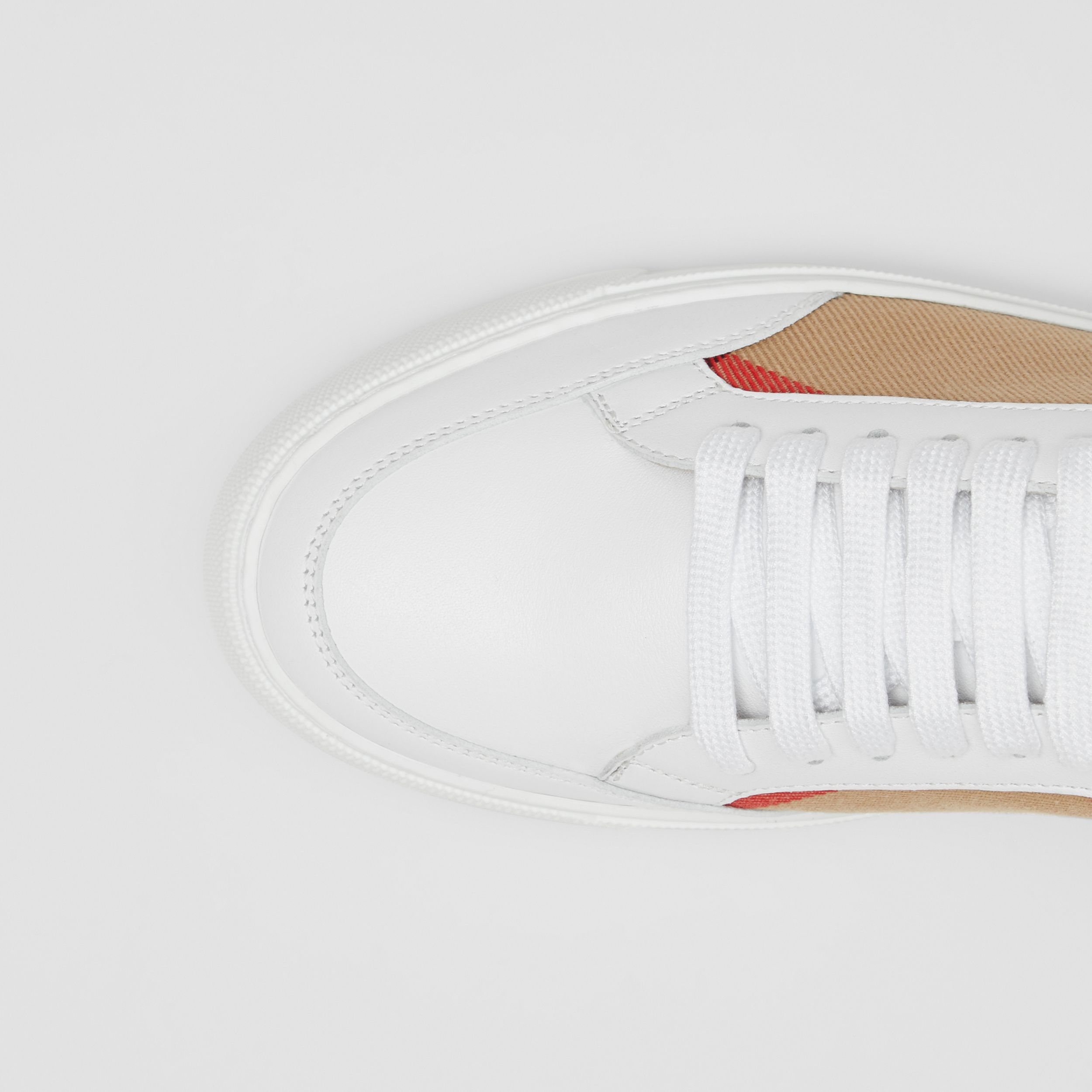 House Check and Leather Sneakers in Optic White - Women | Burberry - 2