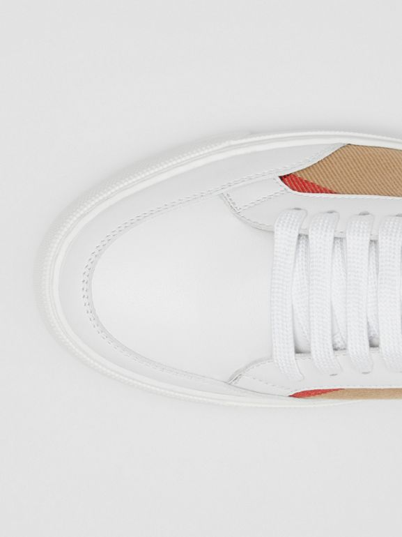 House Check and Leather Sneakers in Optic White - Women | Burberry United Kingdom - cell image 1