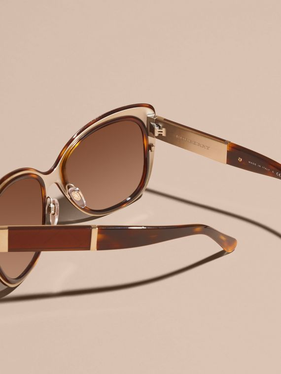 Light russet brown Check Detail Square Cat-eye Sunglasses - cell image 3