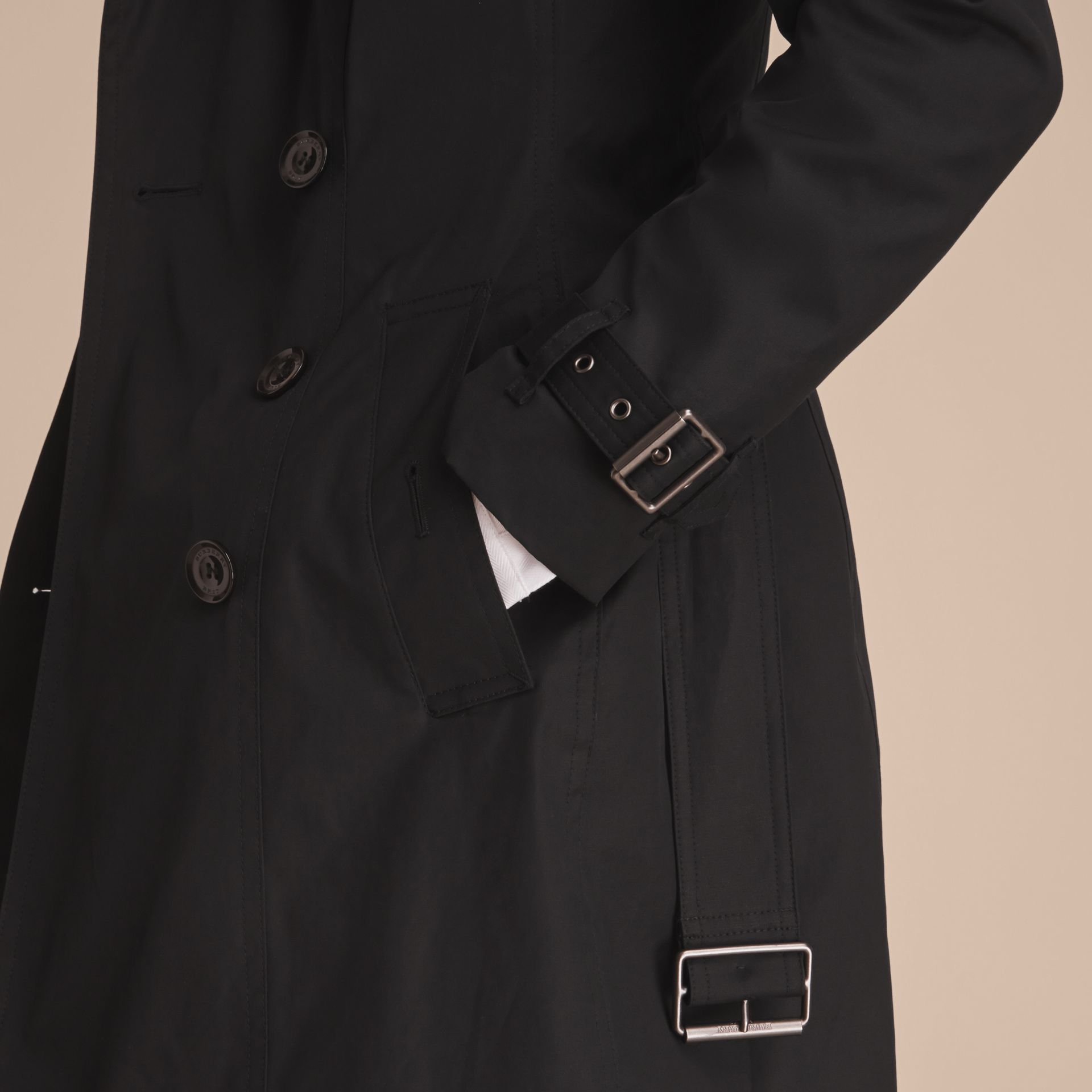 Hooded Trench Coat with Warmer Black - gallery image 6