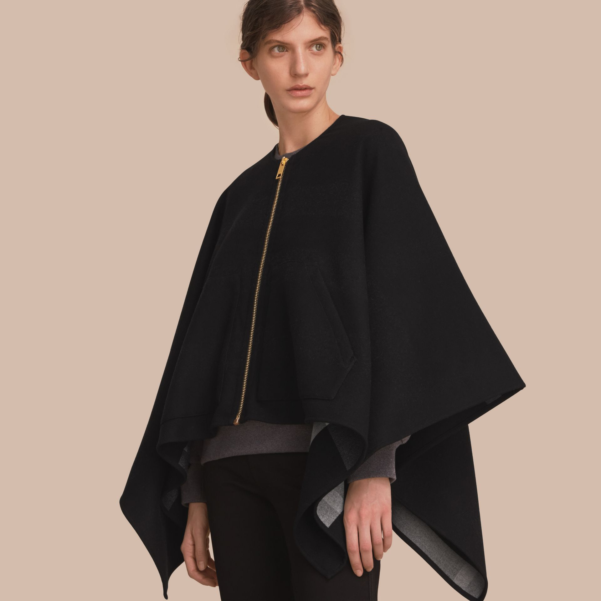 Merino Wool Poncho in Black - Women | Burberry Australia - gallery image 1