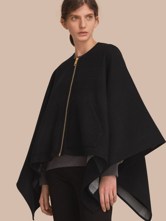 Merino Wool Poncho in Black - Women | Burberry