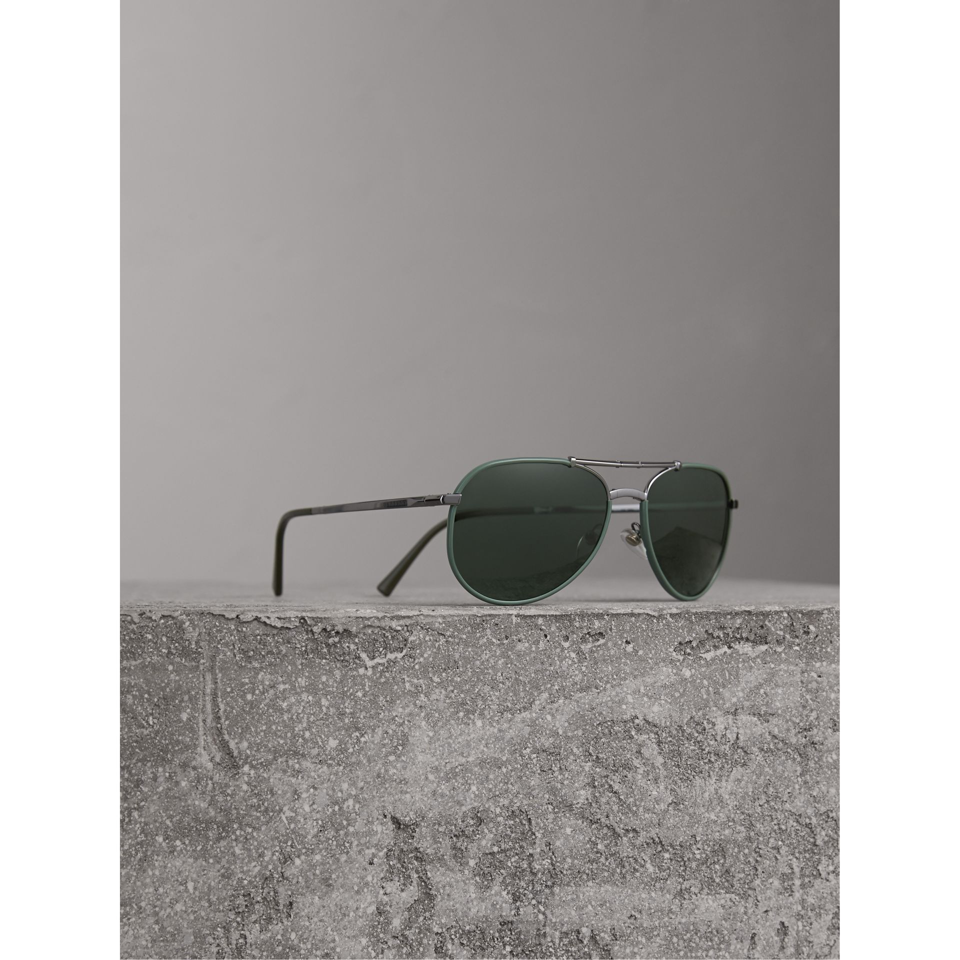Folding Pilot Sunglasses in Dark Olive - Men | Burberry - gallery image 1