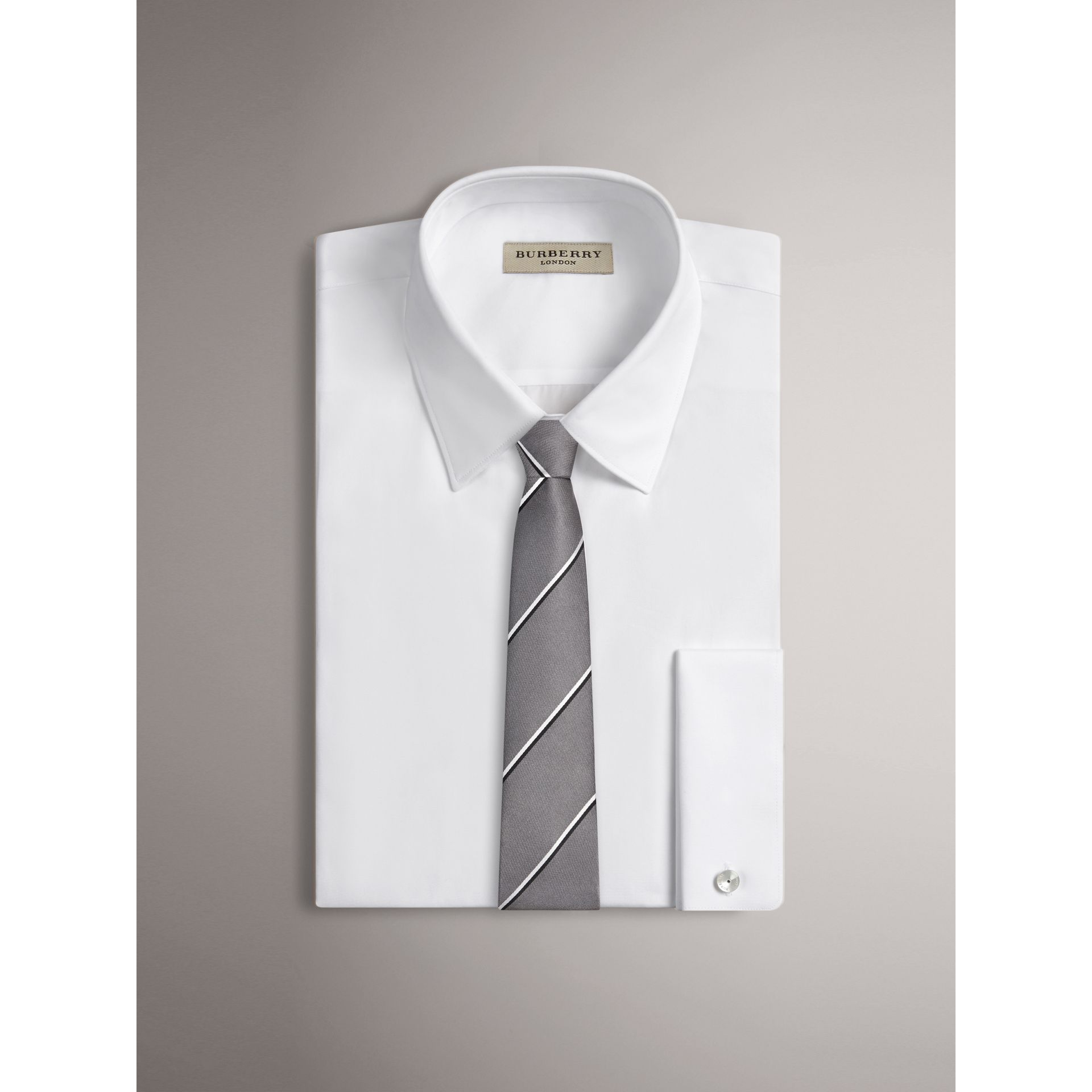Modern Cut Striped Silk Tie in Charcoal - Men | Burberry United States - gallery image 1