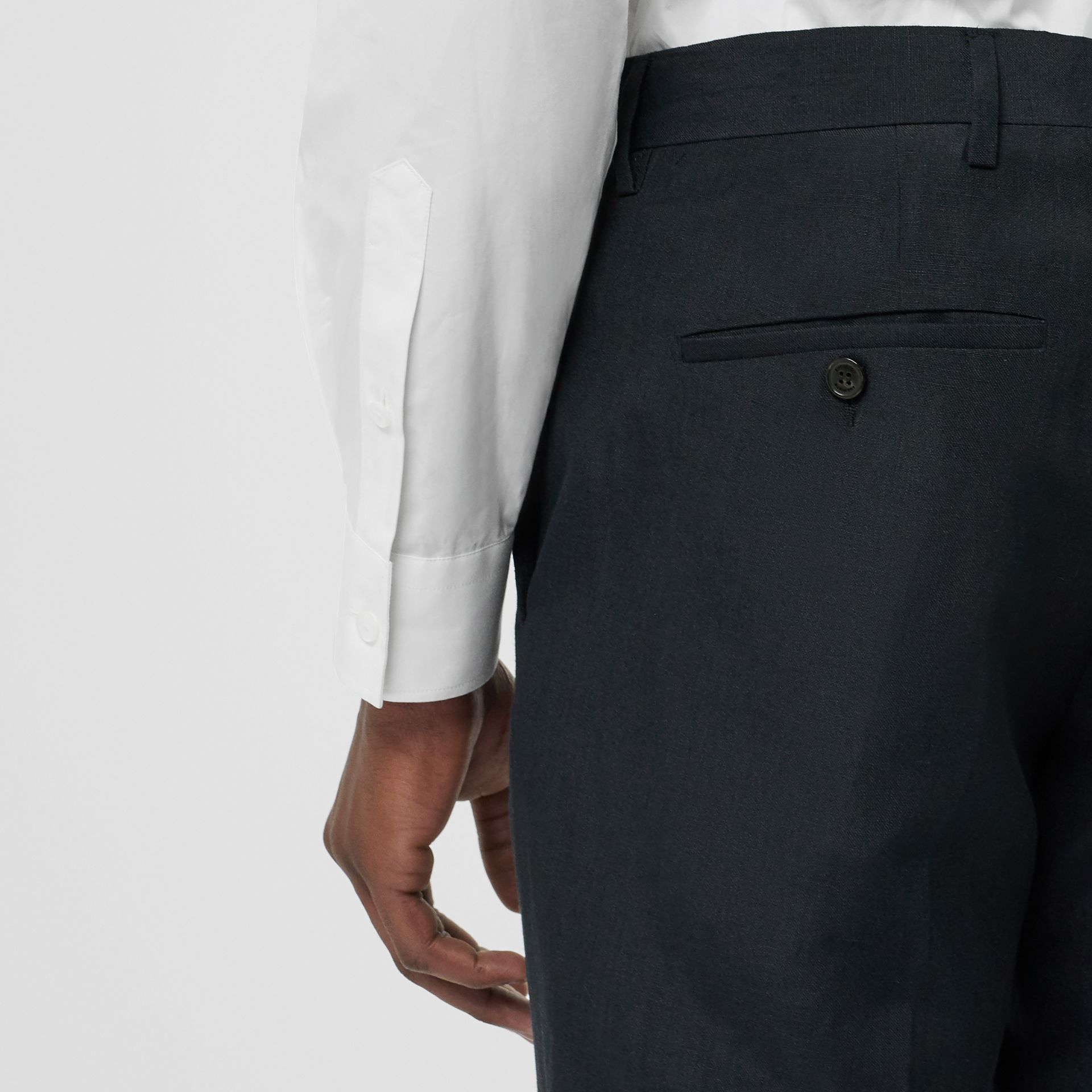 Classic Fit Mohair Linen Silk Tailored Trousers in Navy - Men | Burberry United States - gallery image 1