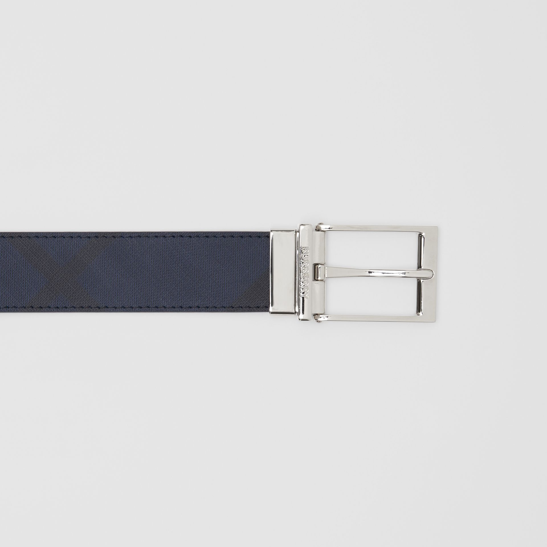 Reversible London Check and Leather Belt in Navy/black - Men | Burberry United Kingdom - gallery image 1
