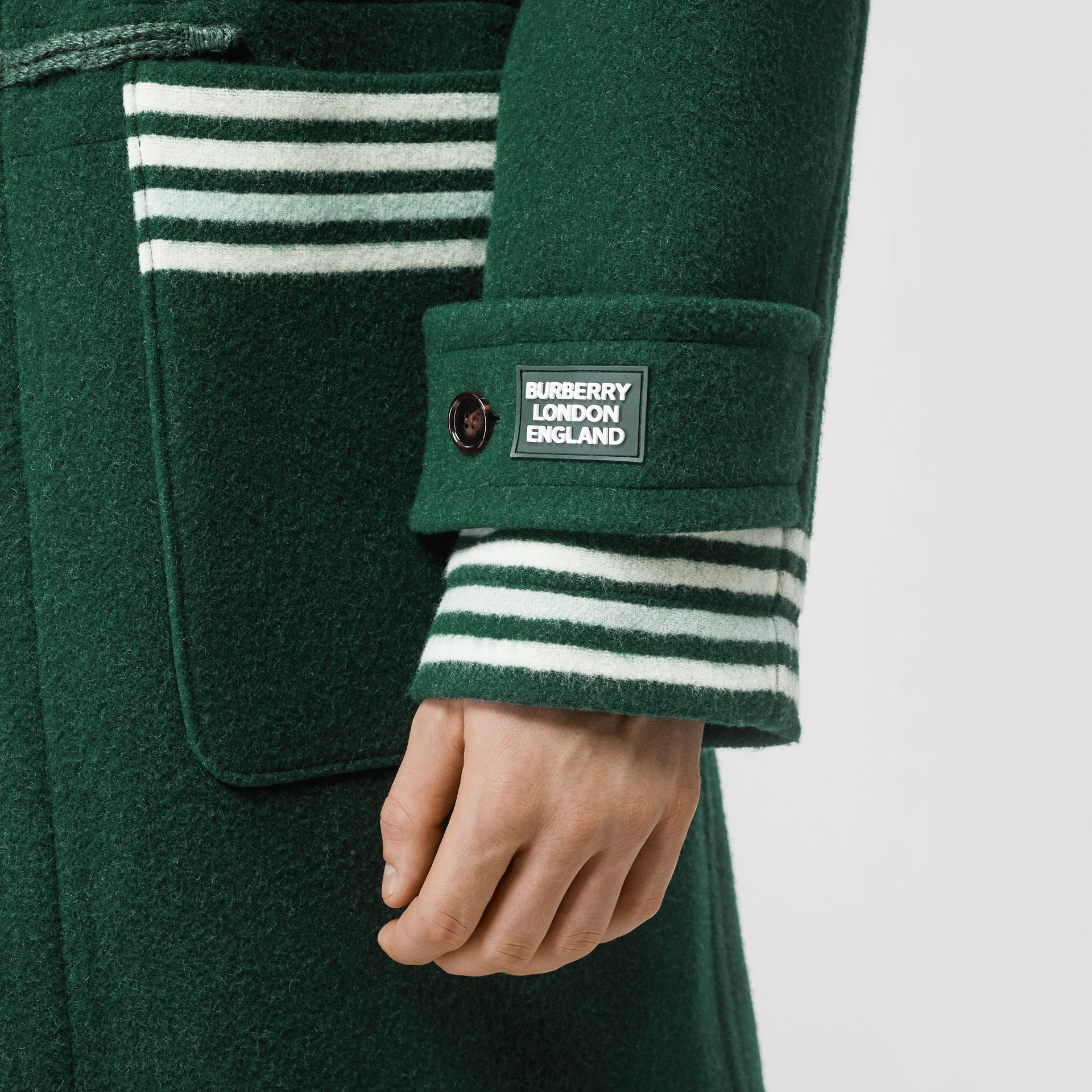 Stripe Detail Double-faced Wool Duffle Coat in Dark Pine Green - Men | Burberry United Kingdom - gallery image 4