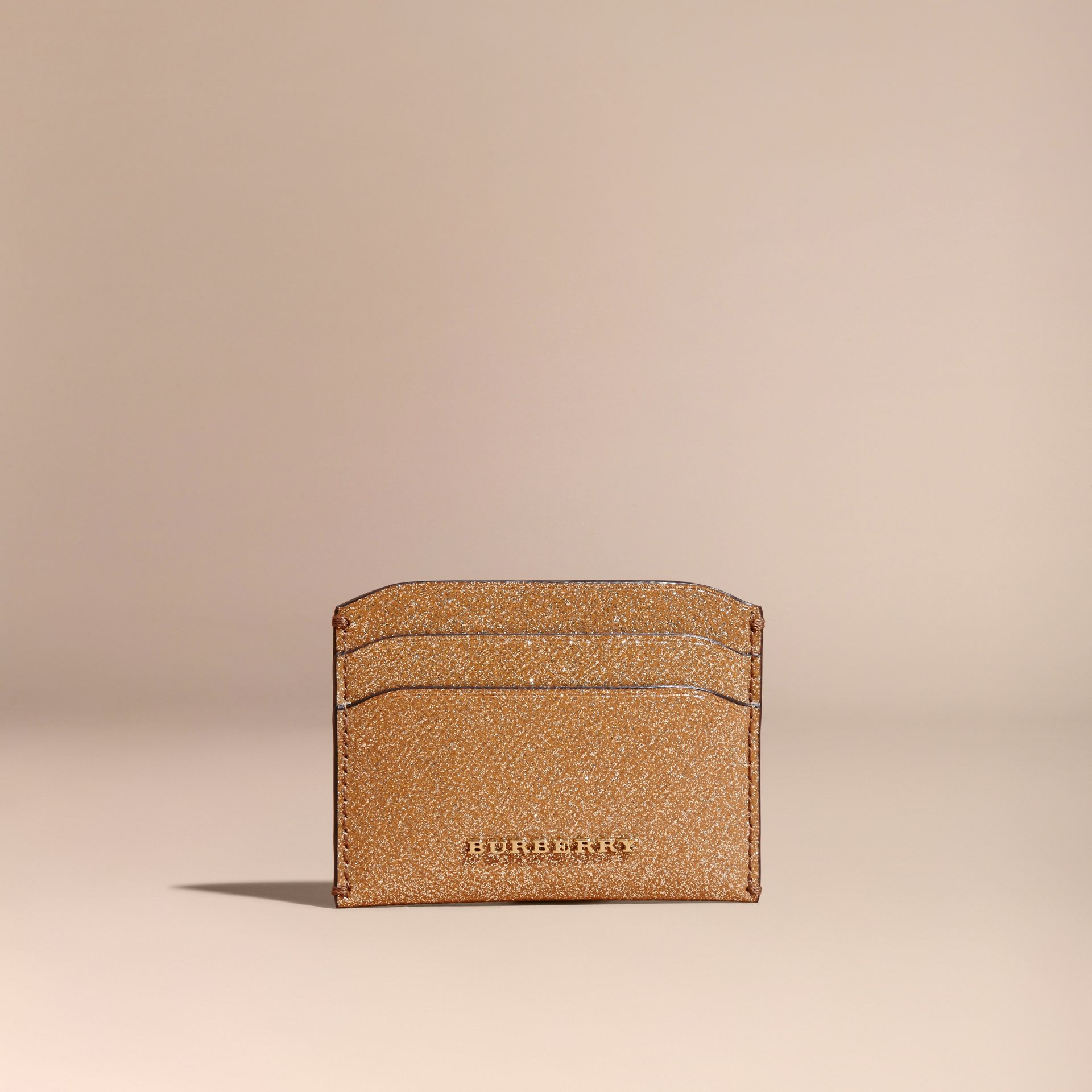 London Leather Glitter Card Case in Camel / Gold - gallery image 6