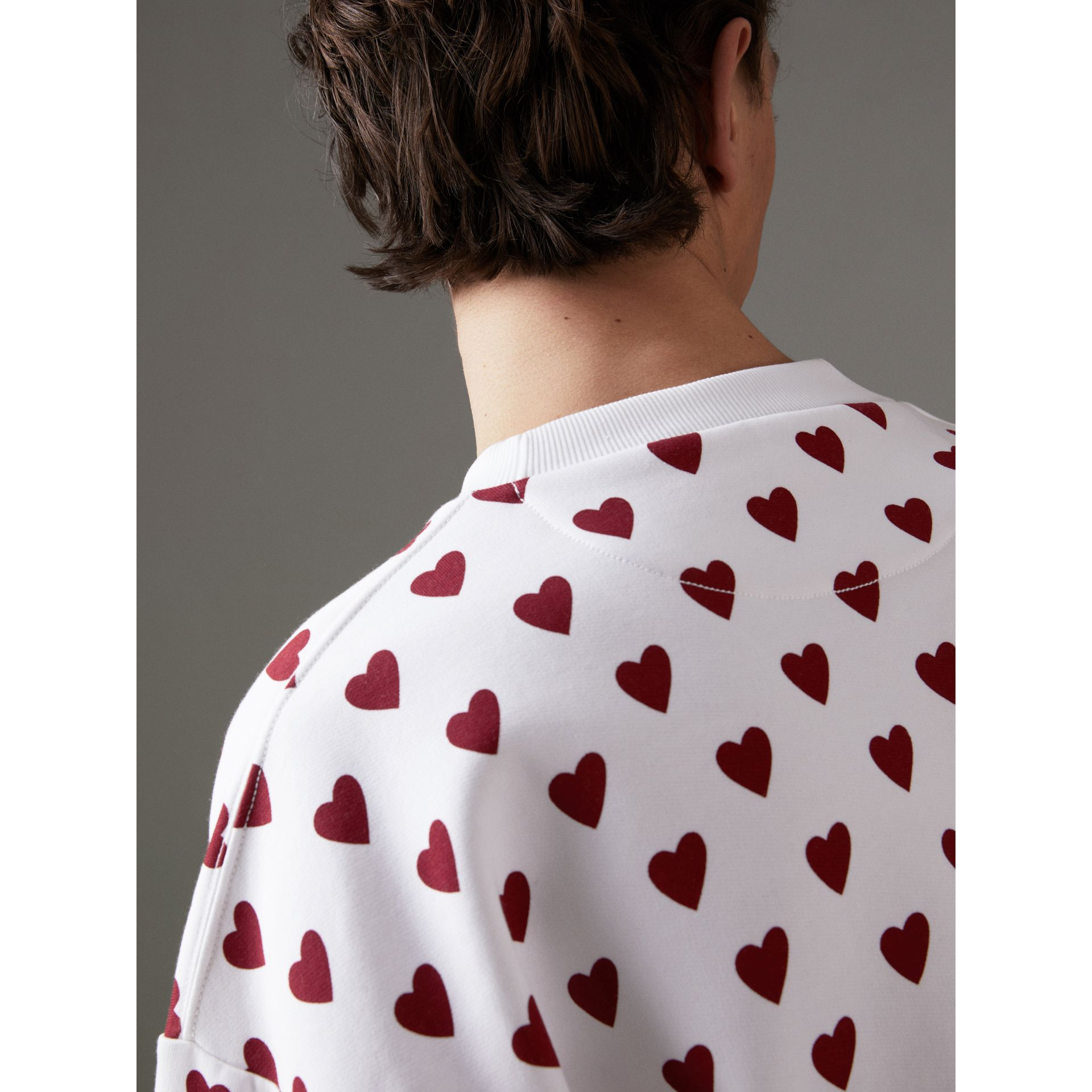 Heart Print Jersey Sweatshirt in Windsor Red | Burberry - gallery image 1