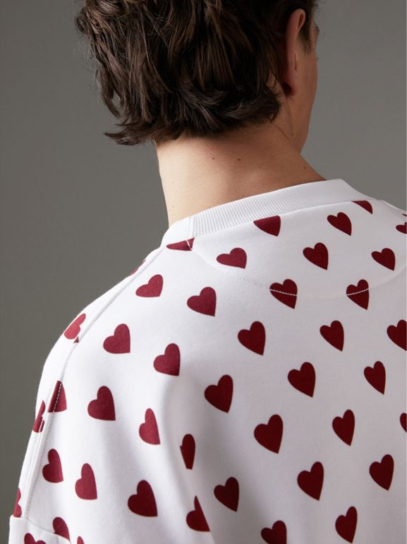 Heart Print Jersey Sweatshirt in Windsor Red | Burberry - cell image 1