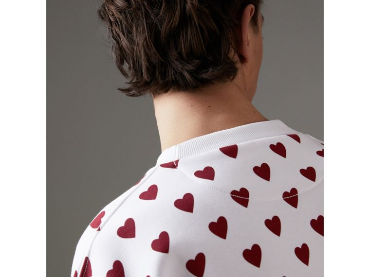 Heart Print Jersey Sweatshirt in Windsor Red | Burberry Canada - cell image 1