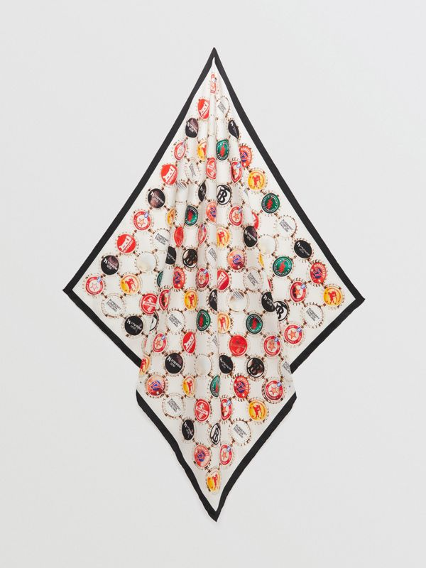 Bottle Cap Print Silk Square Scarf in Multicolour | Burberry - cell image 3