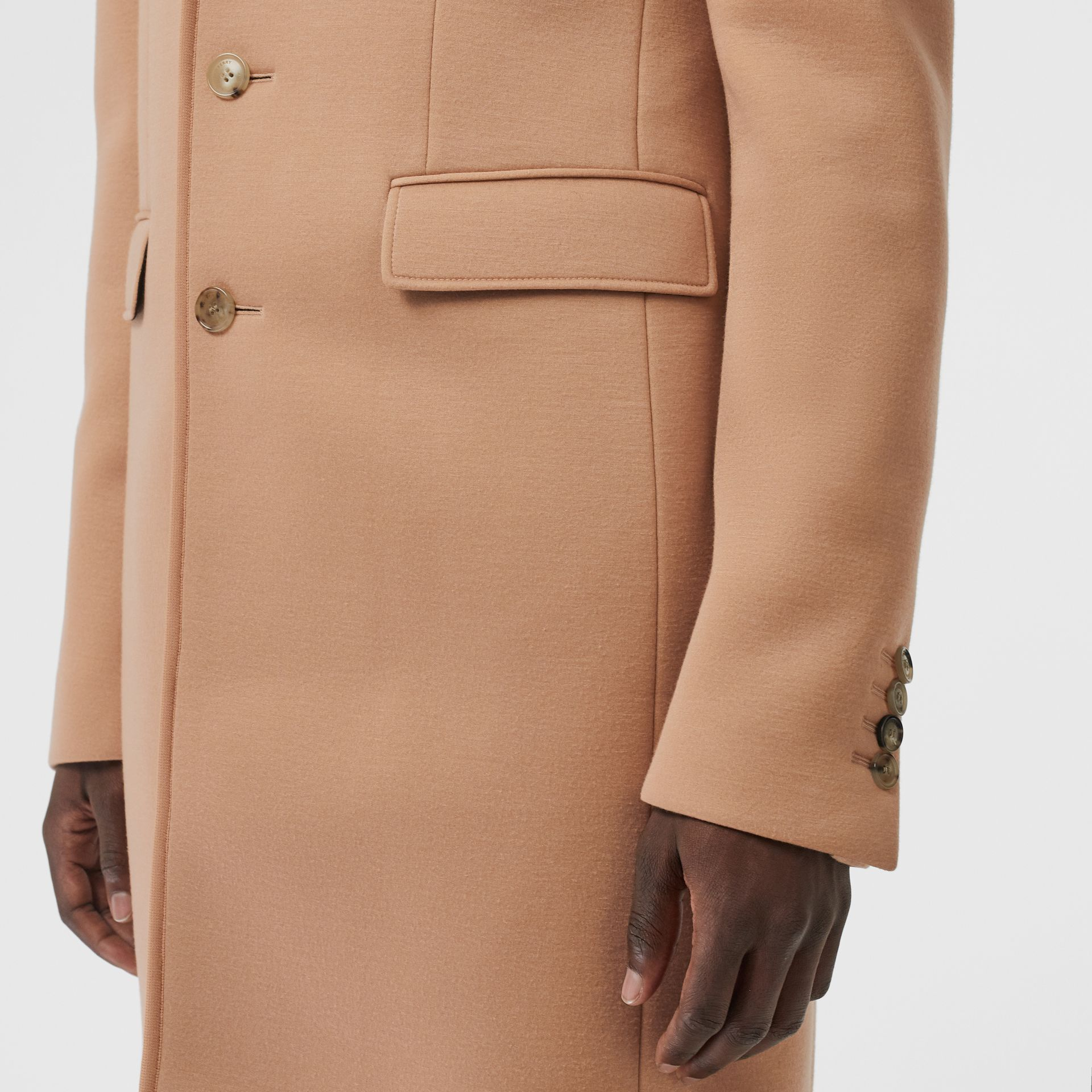 Neoprene Tailored Coat in Beige | Burberry - gallery image 4