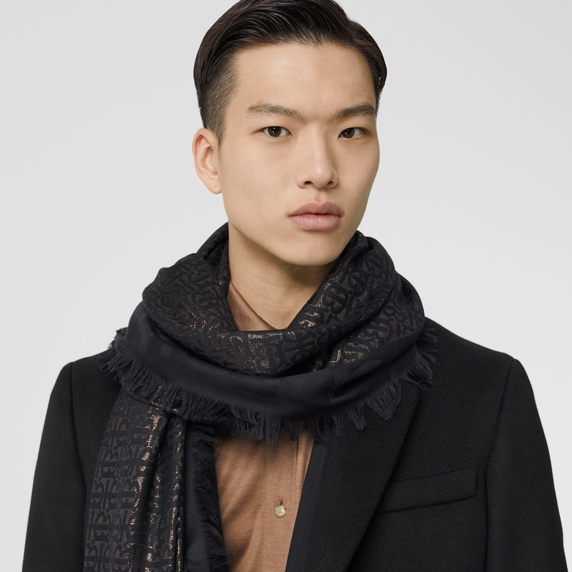 Metallic Monogram Silk Blend Large Square Scarf in Black | Burberry Hong Kong S.A.R - gallery image 3