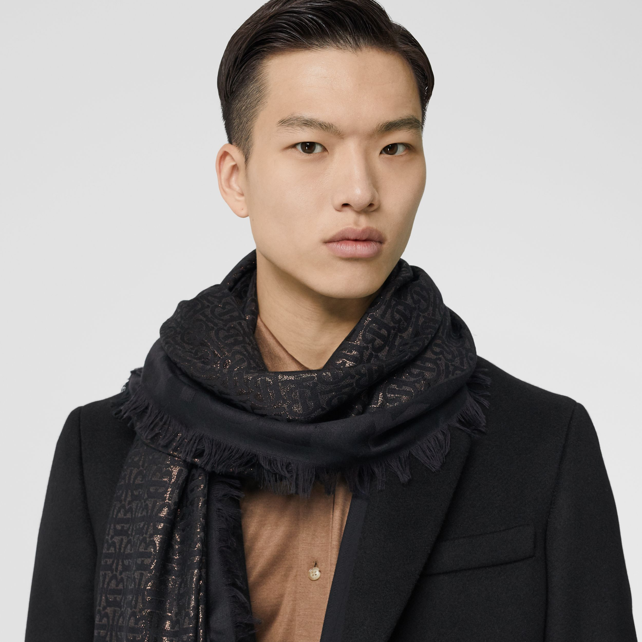 Metallic Monogram Silk Blend Large Square Scarf in Black | Burberry Hong Kong S.A.R. - 4