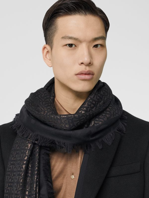 Metallic Monogram Silk Blend Large Square Scarf in Black | Burberry Hong Kong S.A.R - cell image 3