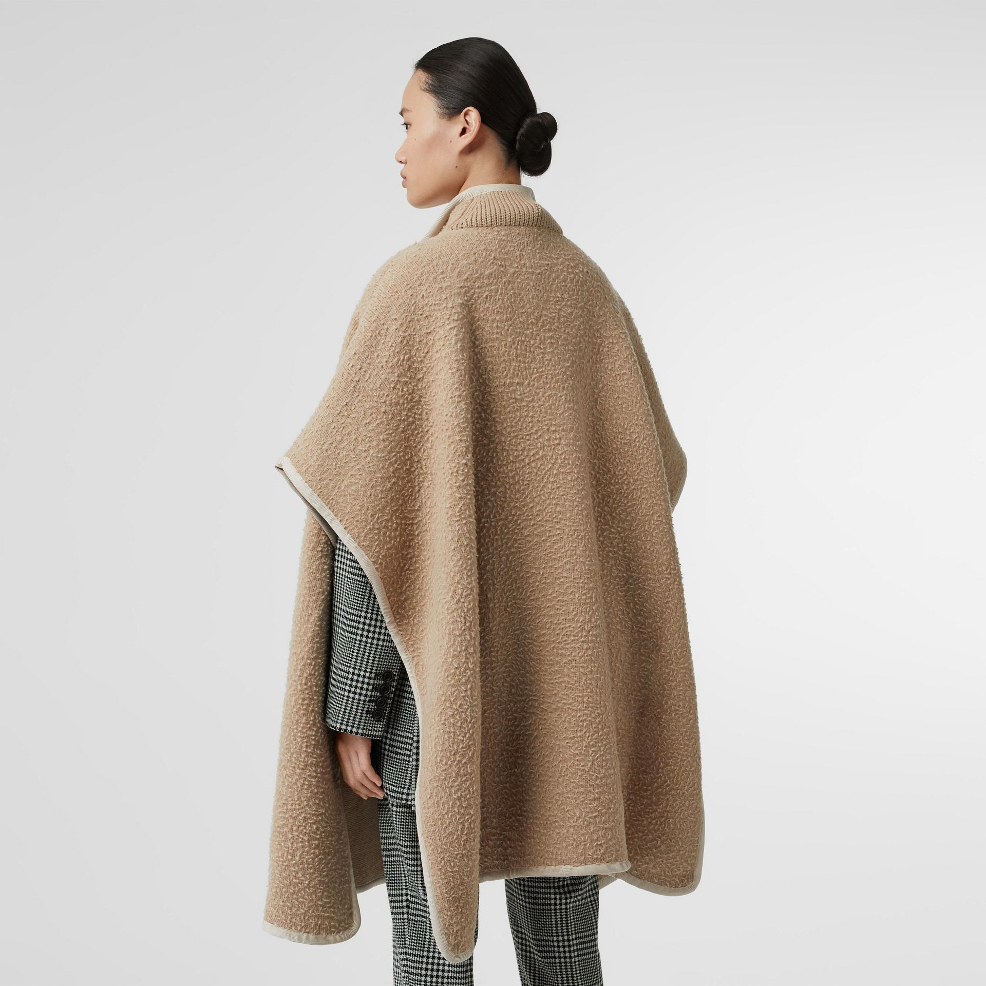 Wool Fleece Cape in Sand - Women | Burberry - gallery image 2