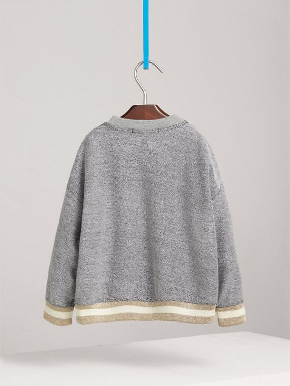 Striped Hem Embroidered Jersey Sweatshirt in Grey Melange - Girl | Burberry - cell image 3