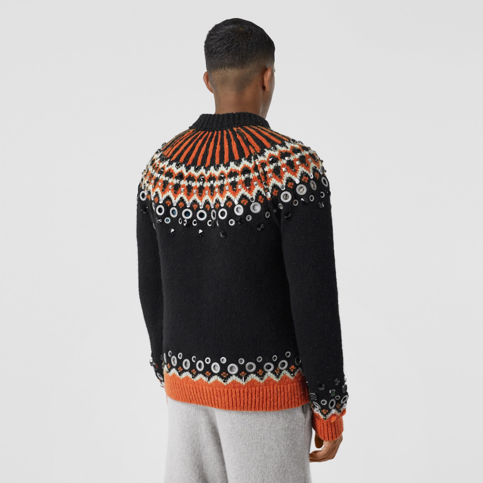 Embellished Fair Isle Wool Sweater in Black - Men | Burberry - gallery image 2