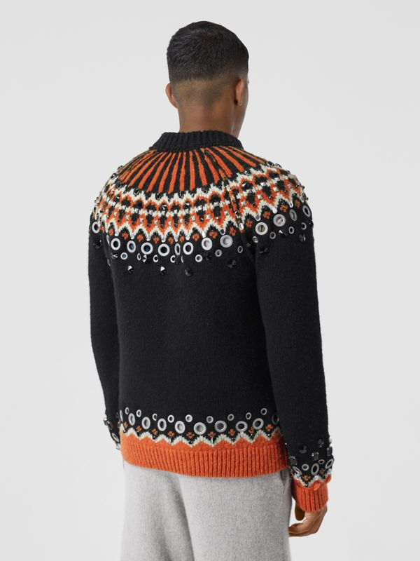 Embellished Fair Isle Wool Sweater in Black - Men | Burberry - cell image 2
