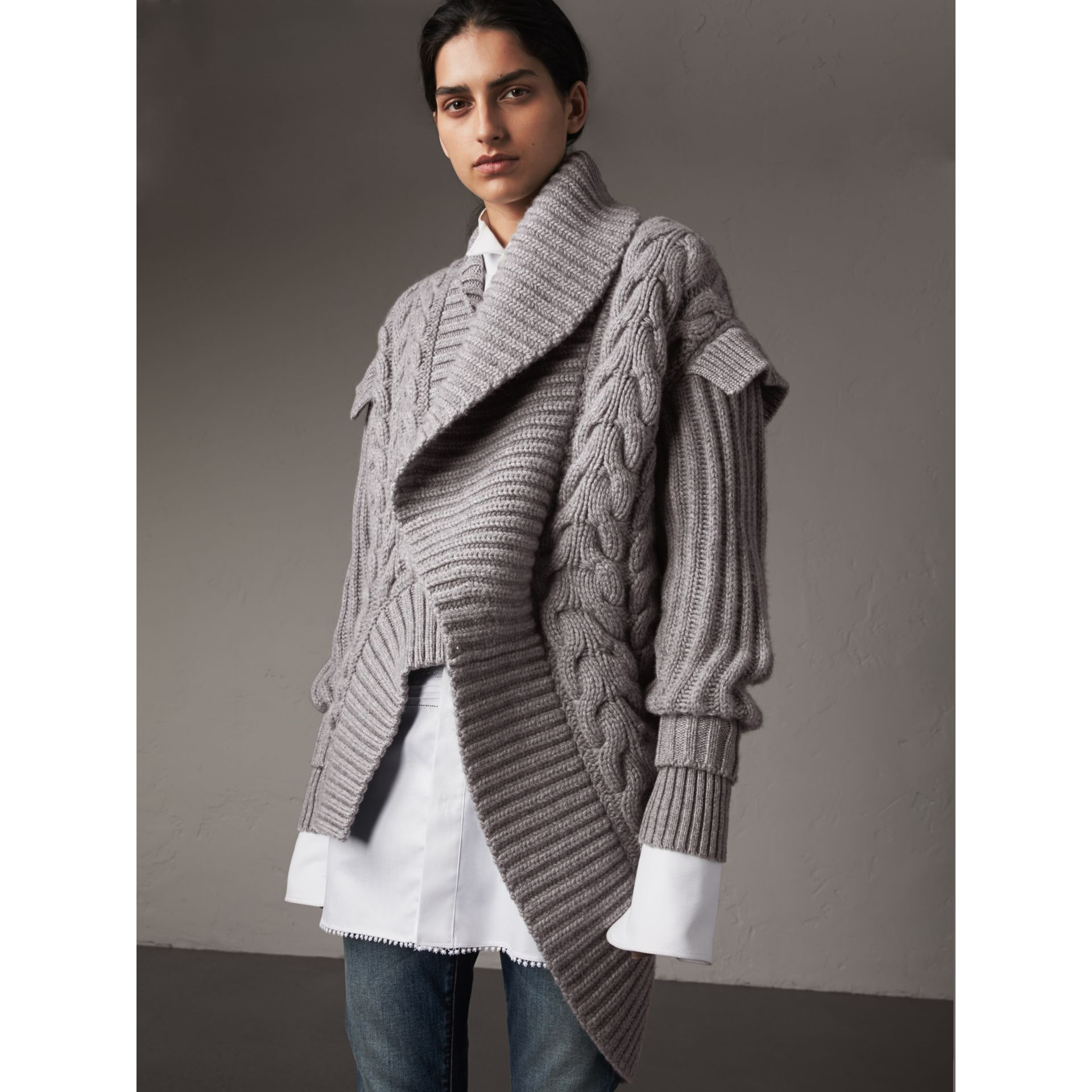 Cable Knit Cashmere Asymmetric Cardigan in Grey Melange - Women | Burberry - gallery image 1