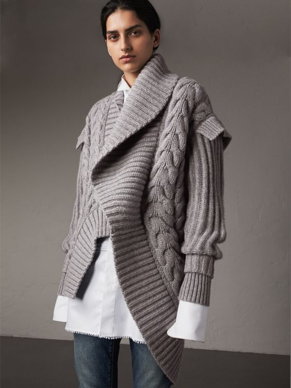 Cable Knit Cashmere Asymmetric Cardigan in Grey Melange